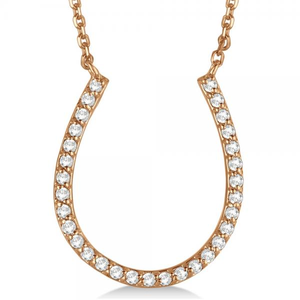 Pave Set Diamond Horseshoe Pendant Necklace 14k Rose Gold 0.25ct