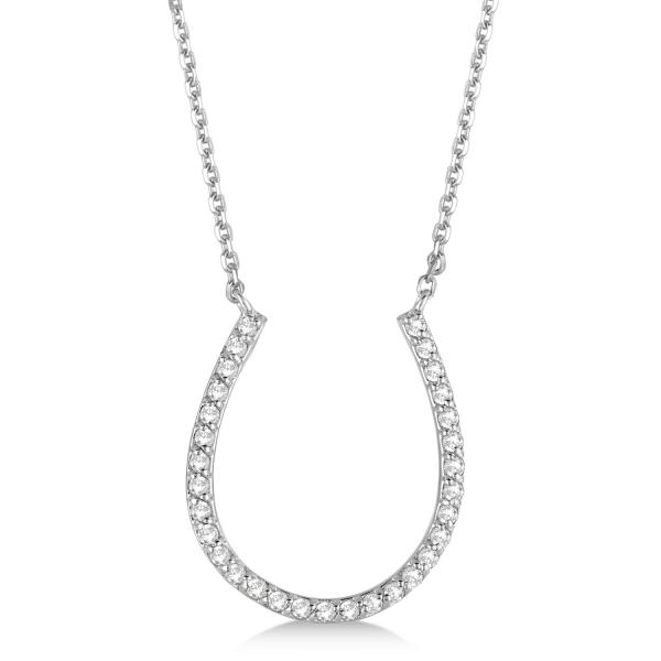 Pave Set Diamond Horseshoe Pendant Necklace 14k White Gold 0.25ct