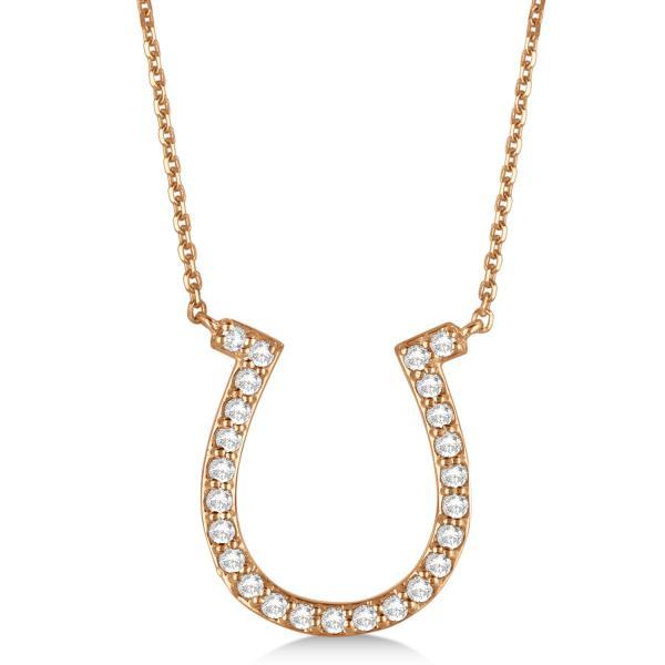 Pave Set Diamond Horseshoe Pendant Necklace 14k Rose Gold 0.40ct