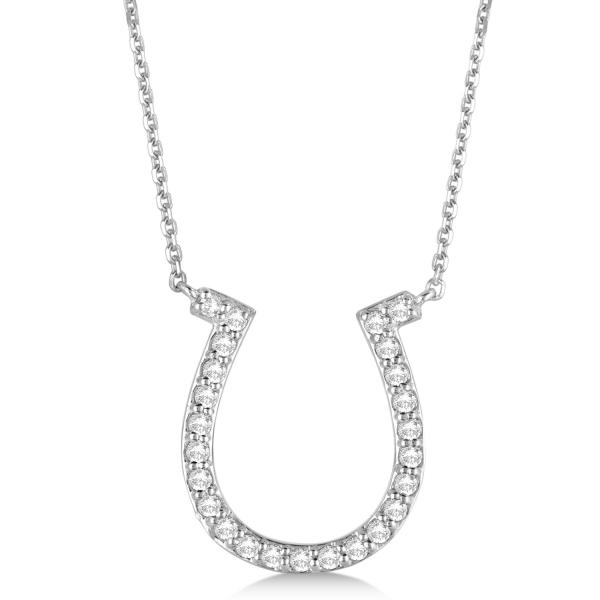 Pave Set Diamond Horseshoe Pendant Necklace 14k White Gold 0.40ct