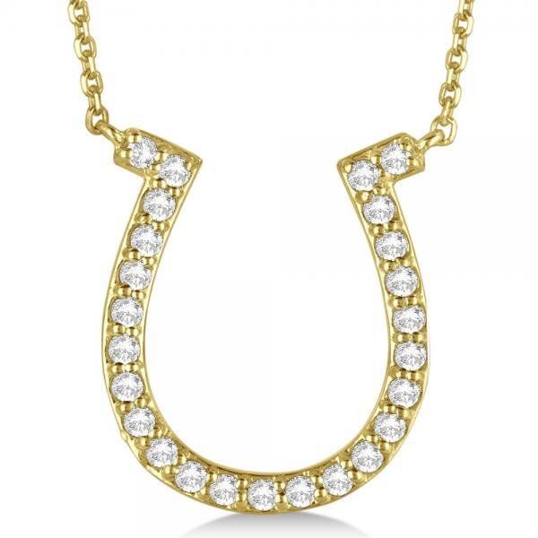 Pave Set Diamond Horseshoe Pendant Necklace 14k Yellow Gold 0.40ct