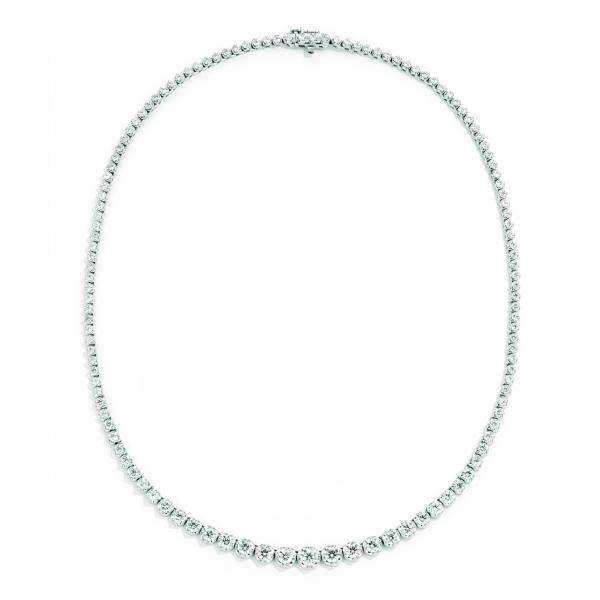 Graduated Diamond Tennis Necklace 14k White Gold 7.20ct