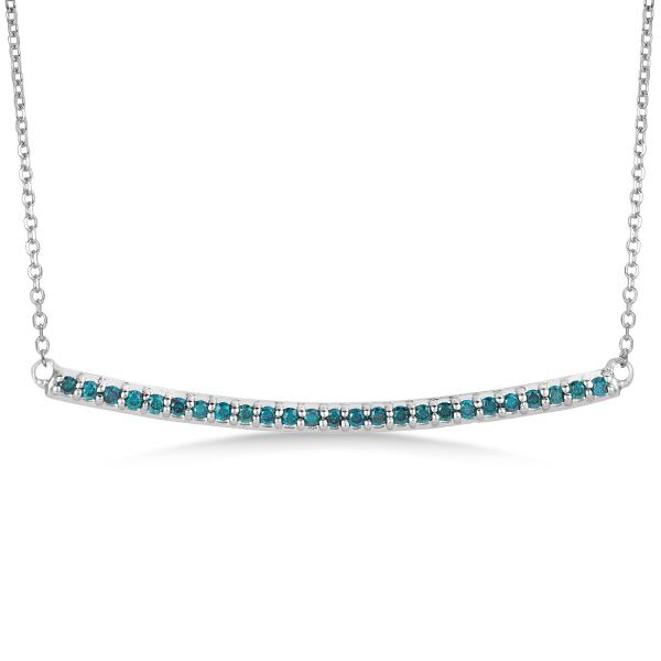 Thin Curved Round Blue Diamond Bar Necklace In 14k White Gold 0.25ct