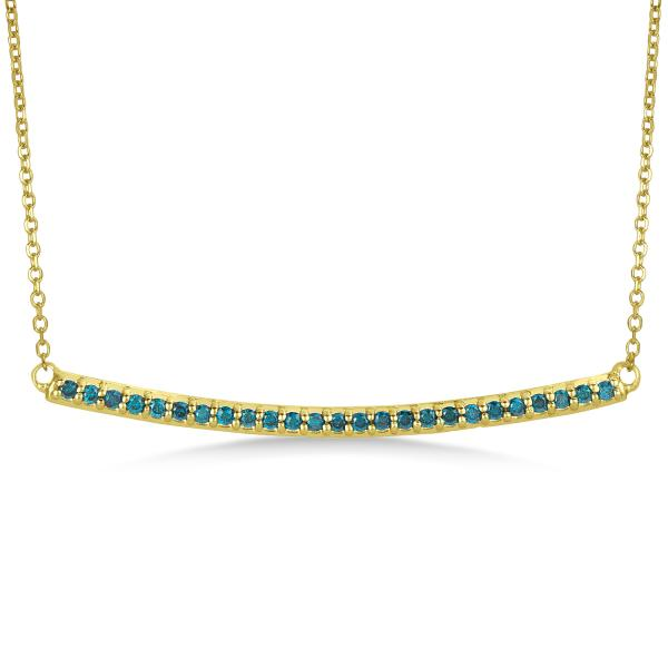 Thin Round Blue Diamond Curved Bar Necklace 14k Yellow Gold 0.25ct