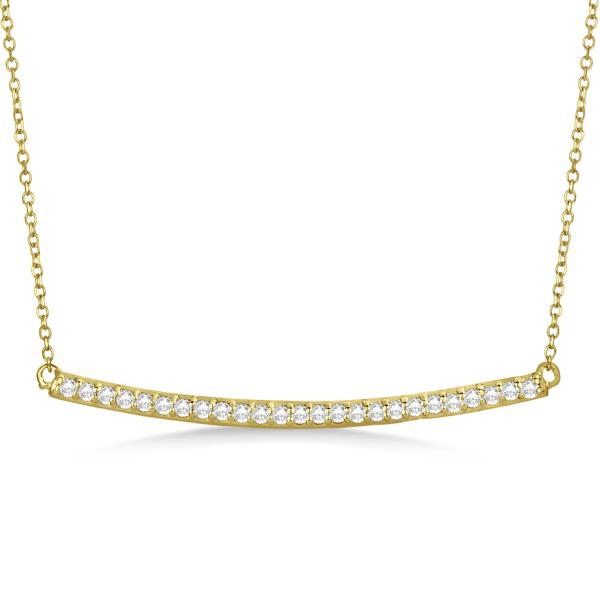 Gold Bar Necklace With Single Diamond