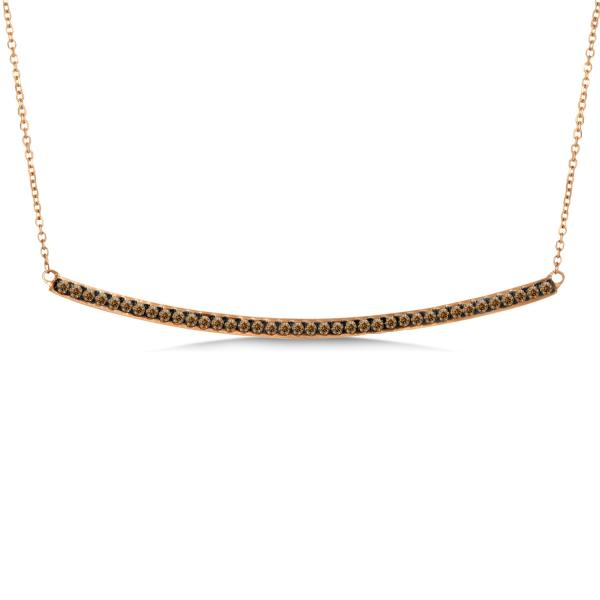 Horizontal Champagne Diamond Bar Necklace Set in 14k Rose Gold 0.40ct