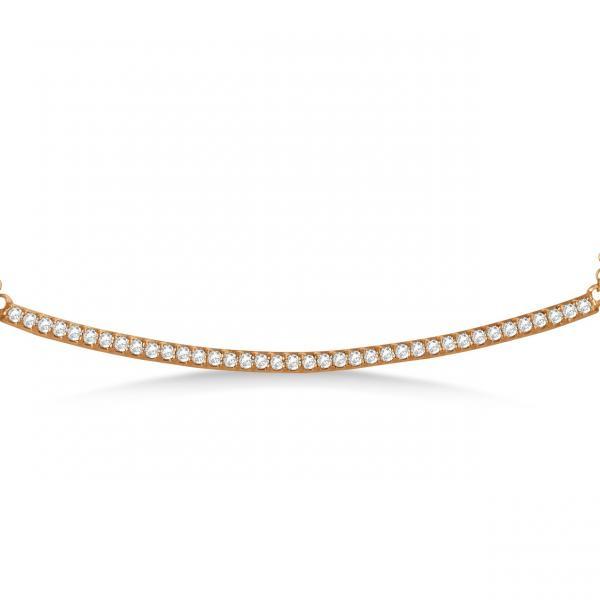 Pave Set Slightly Curved Round Diamond Bar Necklace 14k Rose Gold 0.40ct