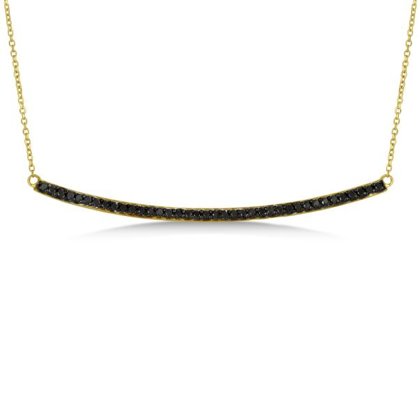 Thin Round Black Diamond Curved Bar Necklace 14k Yellow Gold 0.40ct