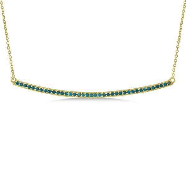 Thin Round Blue Diamond Curved Bar Necklace 14k Yellow Gold 0.40ct