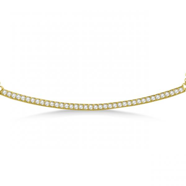 Pave Set Slightly Curved Diamond Bar Necklace 14k Yellow Gold 0.40ct