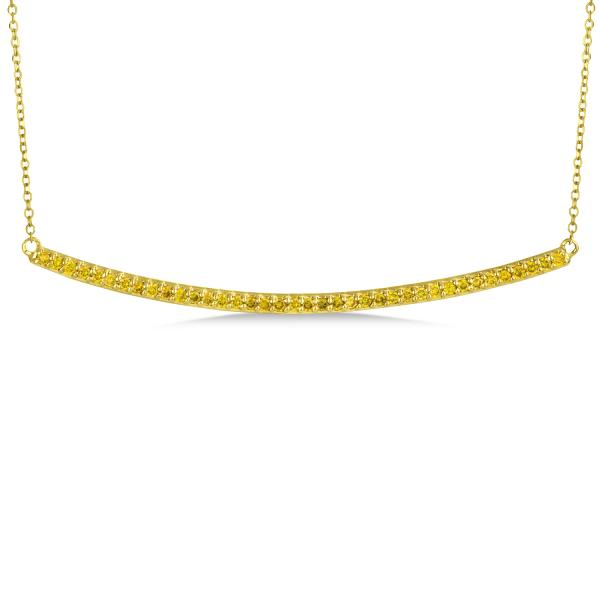 Thin Horizontal Yellow Diamond Bar Necklace In 14k Yellow Gold 0.40ct