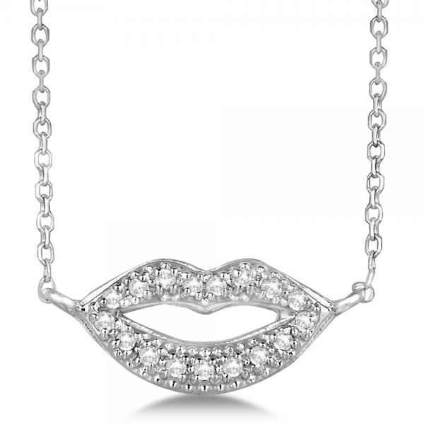 Pave Set Dazzling Diamond Lips Pendant Necklace 14k White Gold 0.09