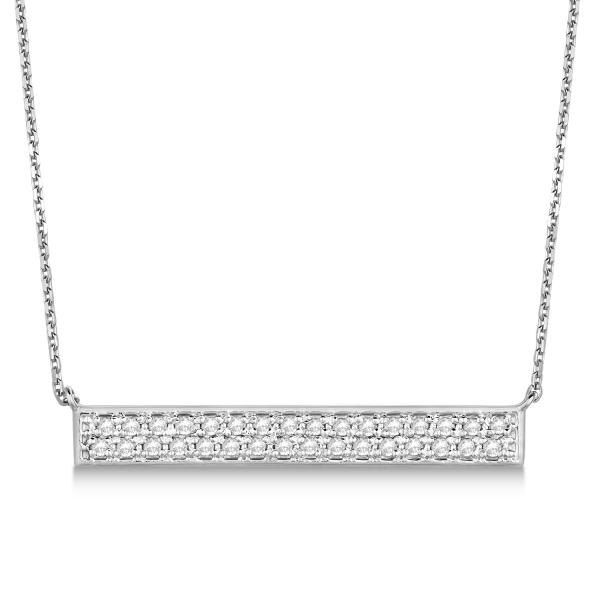 Double Row Horizontal Diamond Bar Necklace 14k White Gold 0.33ct