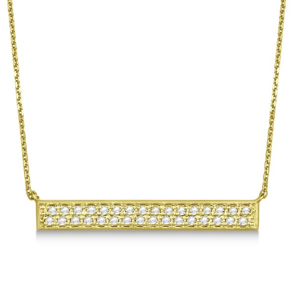 Double Row Horizontal Diamond Bar Necklace 14k Yellow Gold 0.33ct