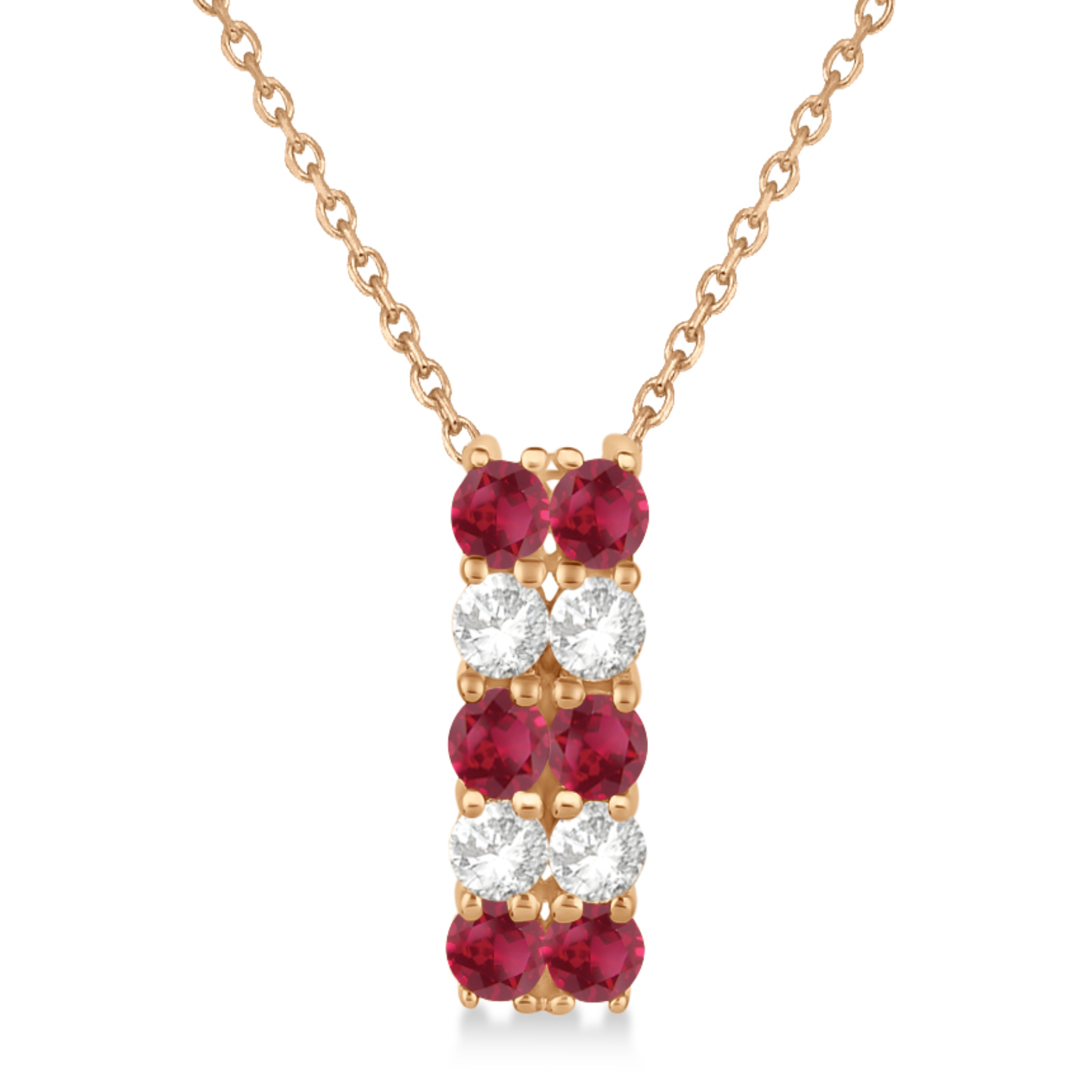 Double Row Ruby & Diamond Drop Necklace 14k Rose Gold (1.30ct)