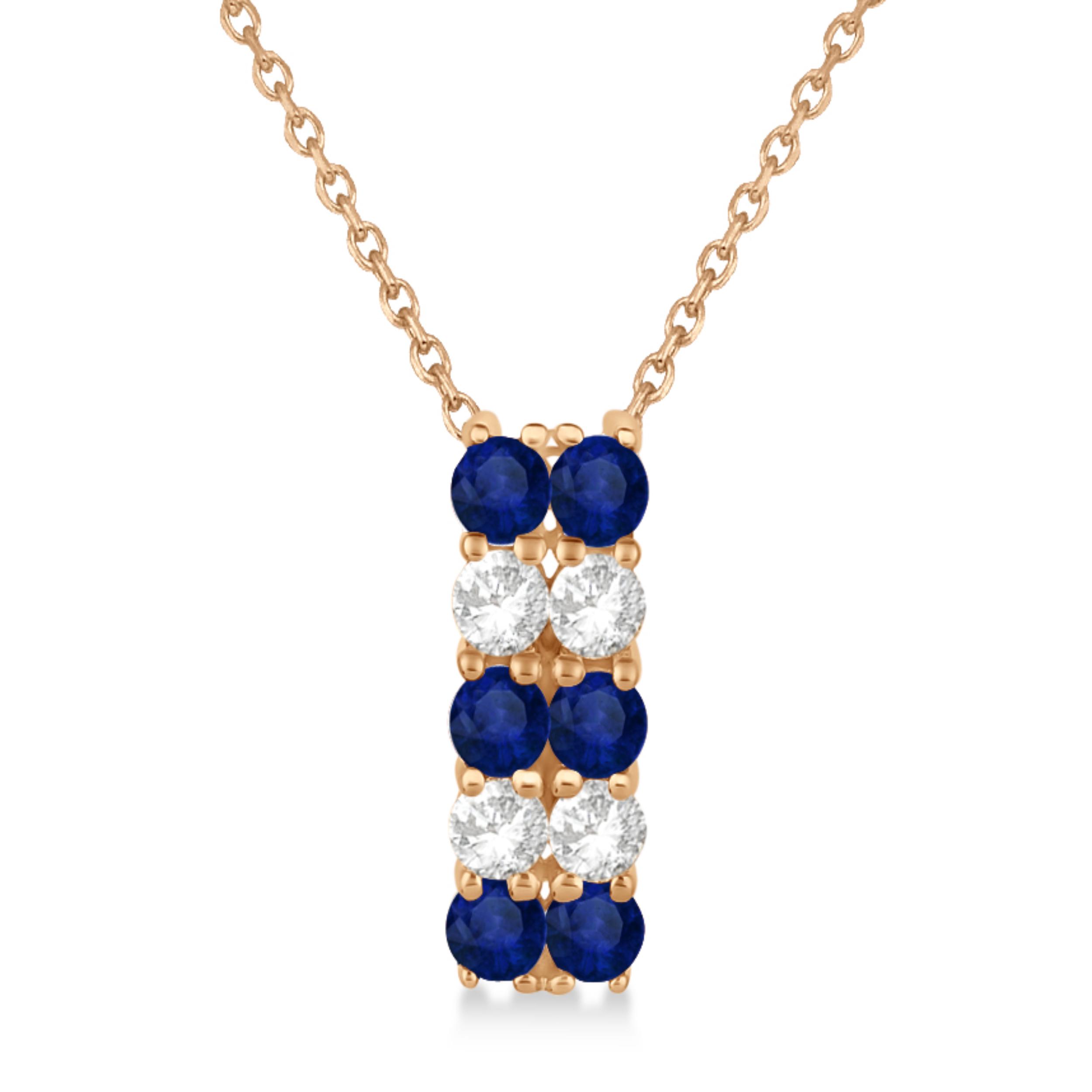 Double Row Sapphire & Diamond Drop Necklace 14k Rose Gold(1.30ct)