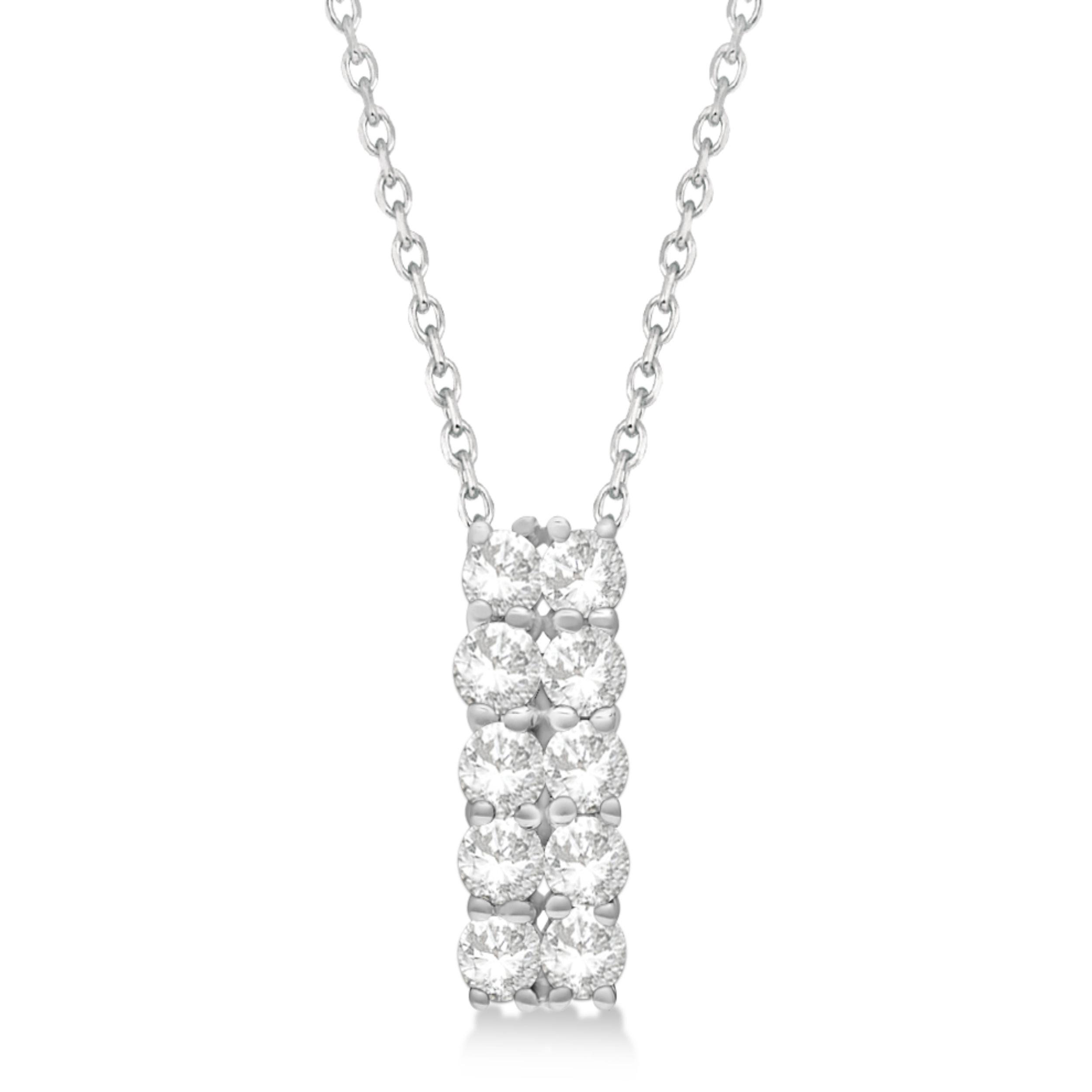 Double Row Diamond Drop Necklace 14k White Gold (1.01ct)