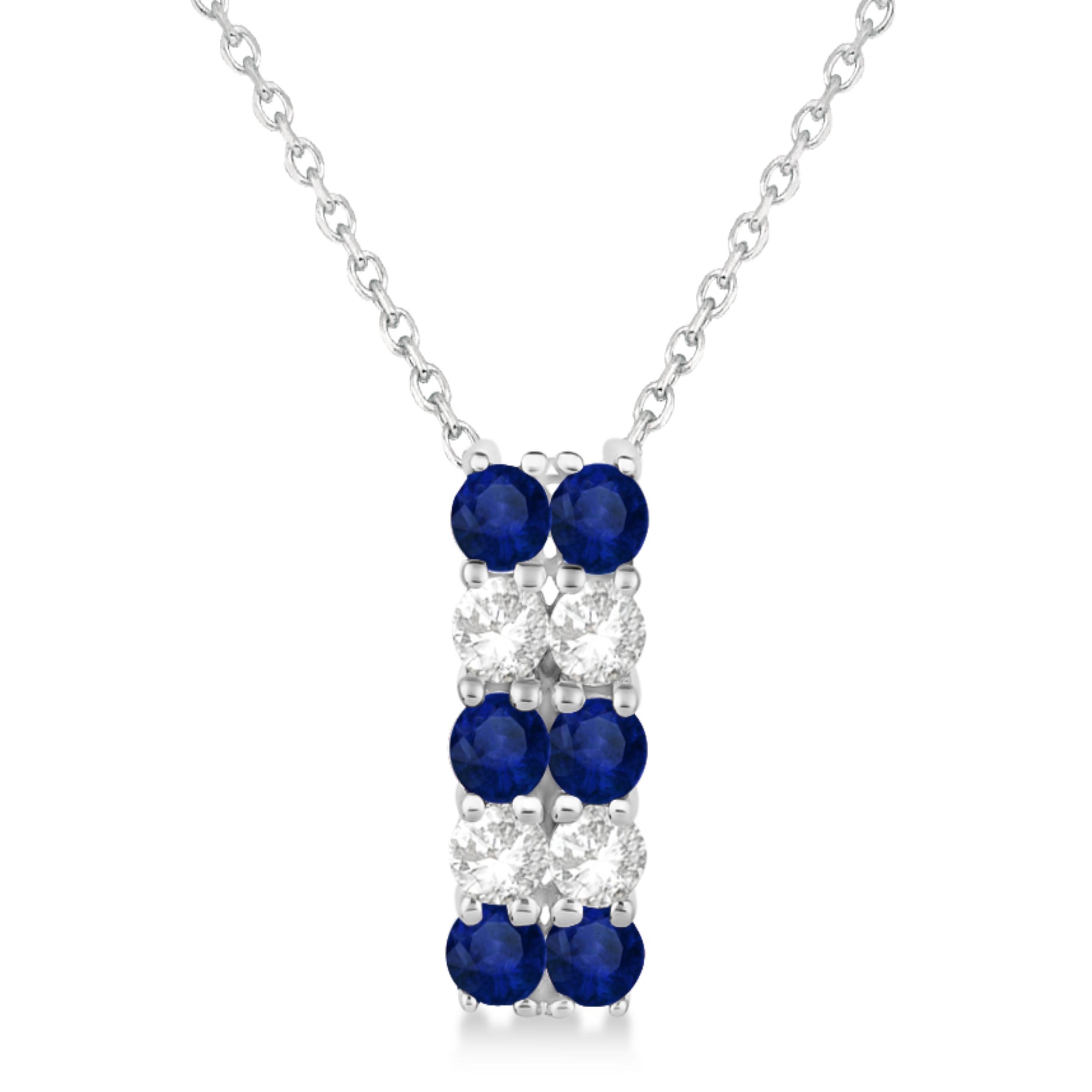 Double Row Sapphire & Diamond Drop Necklace 14k White Gold (1.30ct)