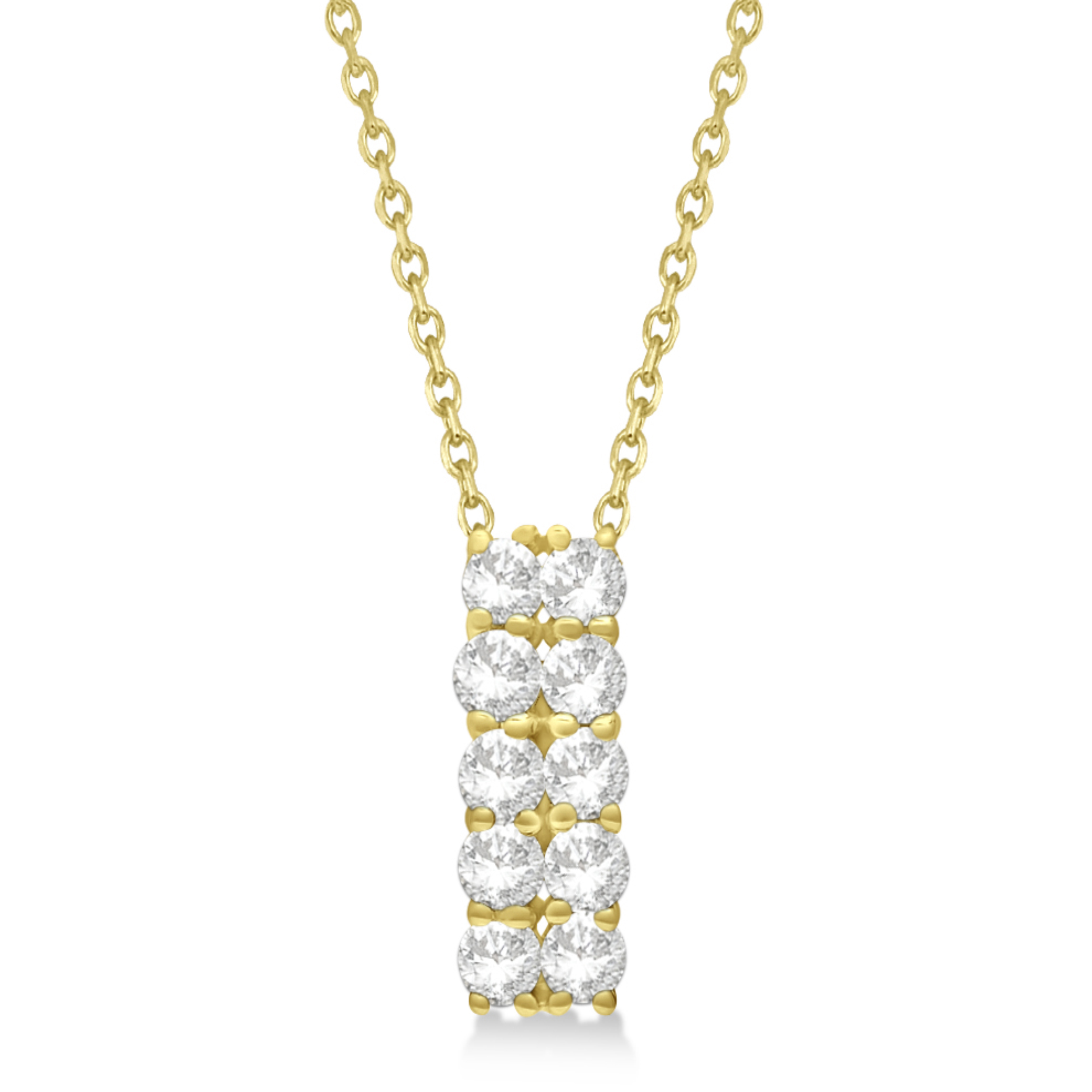 Double Row Diamond Drop Necklace 14k Yellow Gold (1.01ct)