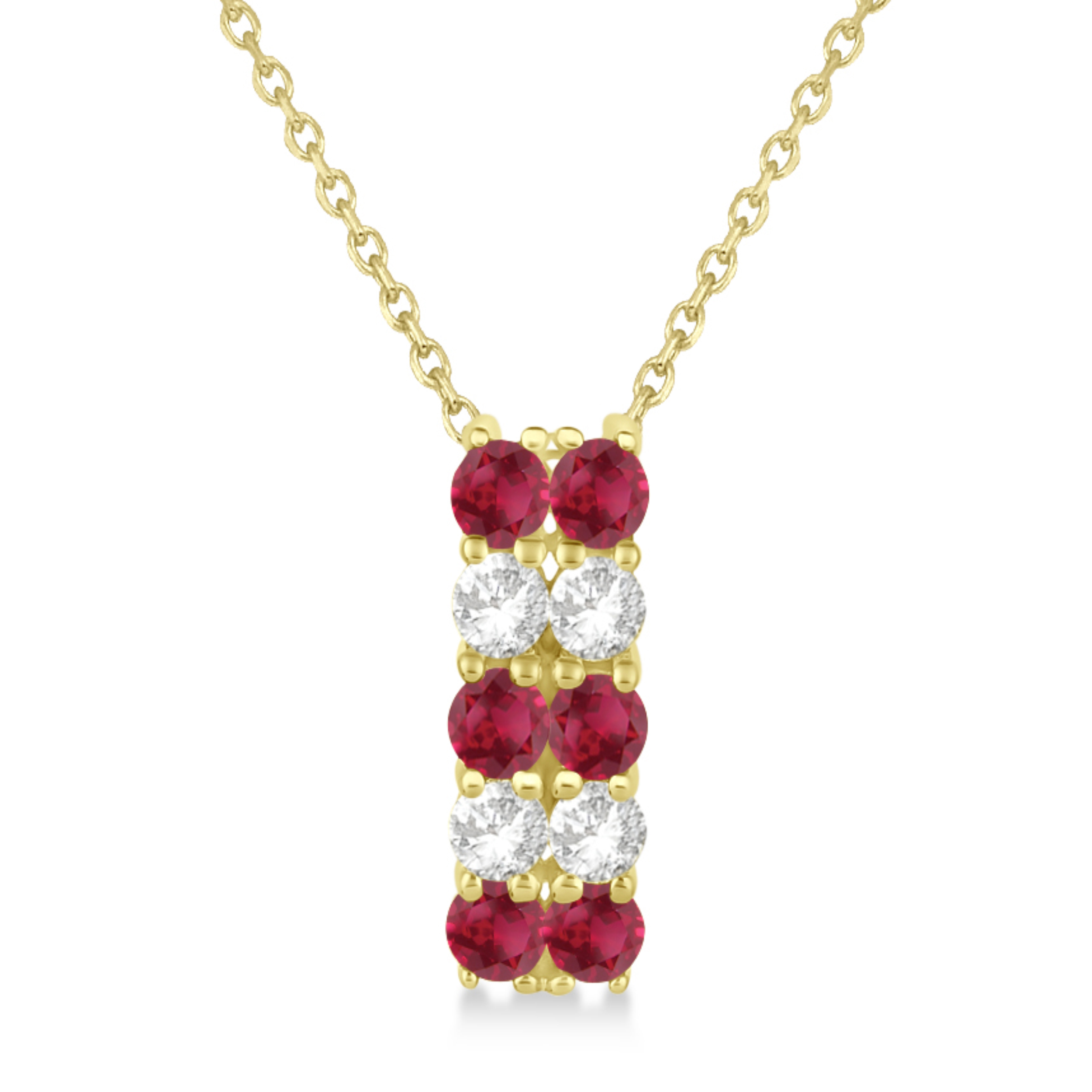 Double Row Ruby & Diamond Drop Necklace 14k Yellow Gold (1.30ct)