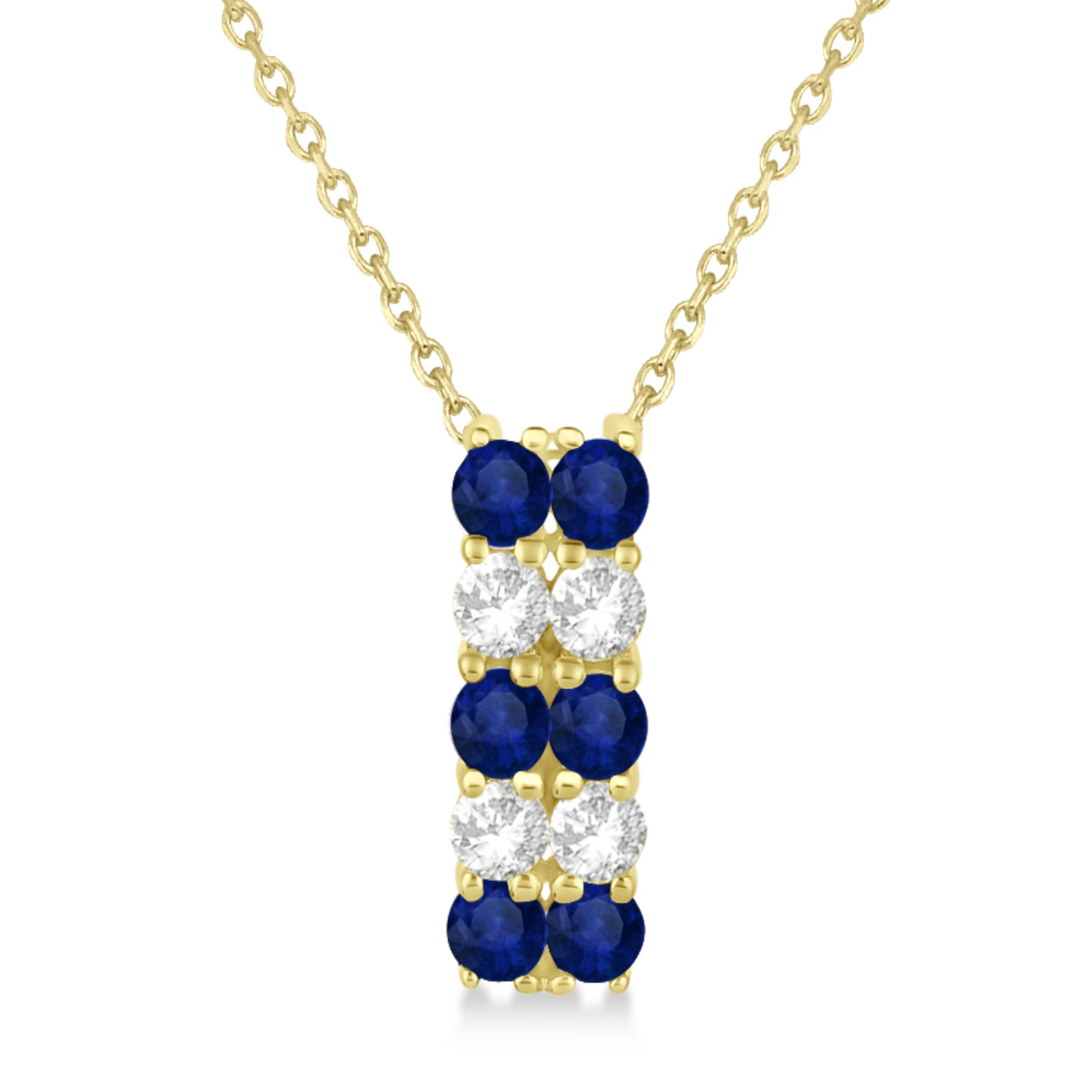 Double Row Sapphire & Diamond Drop Necklace 14k Yellow Gold (1.30ct)