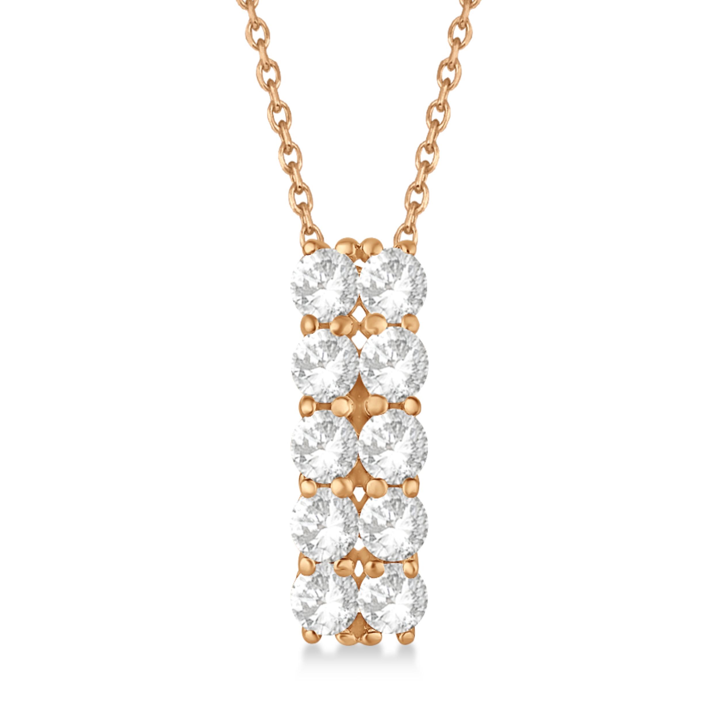 Double Row Diamond Drop Necklace 14k Rose Gold (2.00ct)