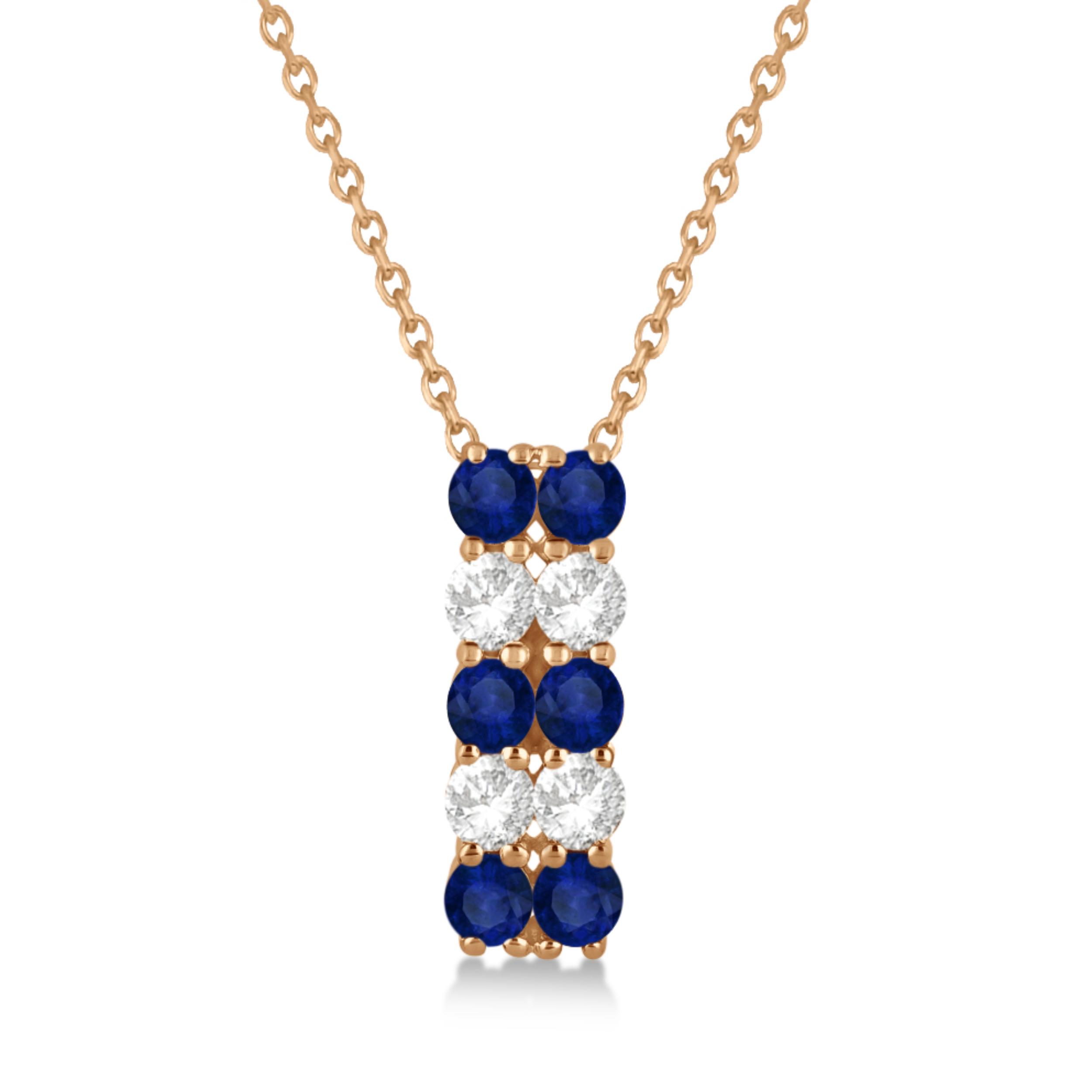 Double Row Sapphire & Diamond Drop Necklace 14k Rose Gold (2.18ct)