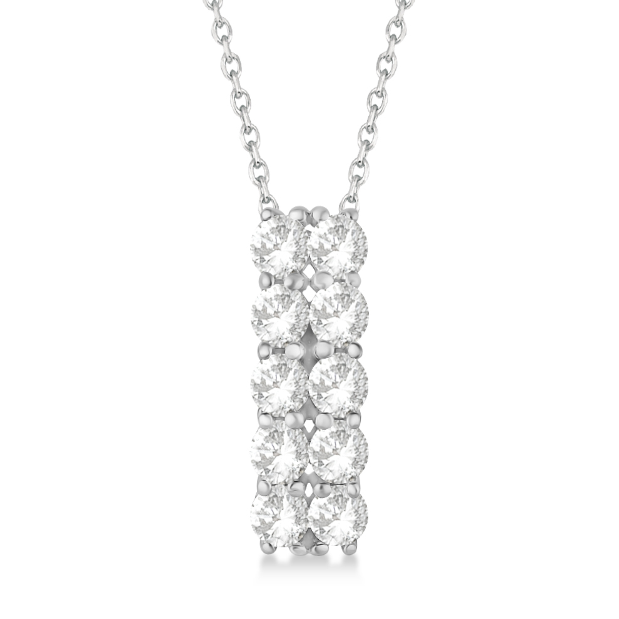 Double Row Diamond Drop Necklace 14k White Gold (2.00ct)