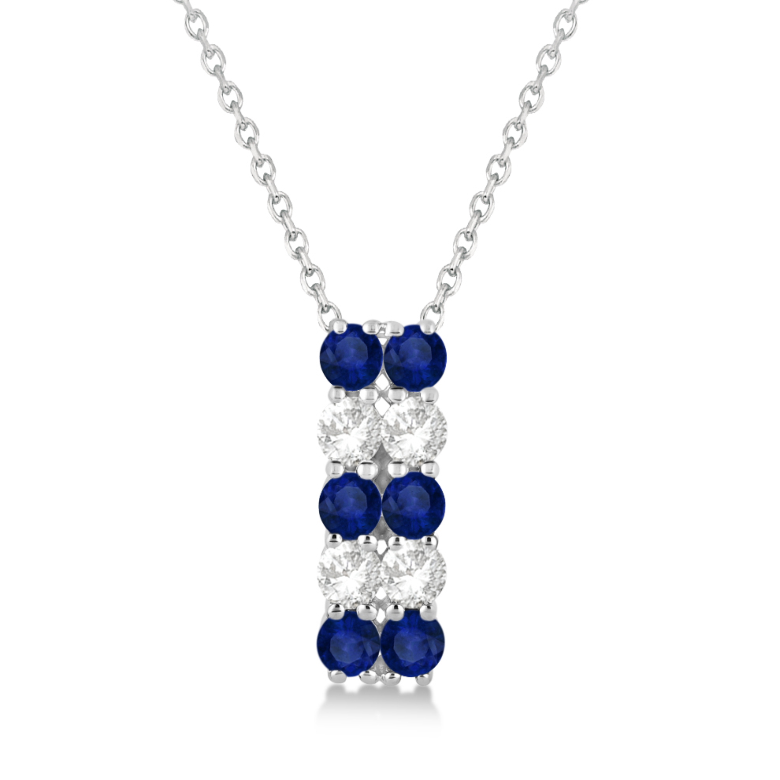 Double Row Sapphire & Diamond Drop Necklace 14k White Gold (2.18ct)