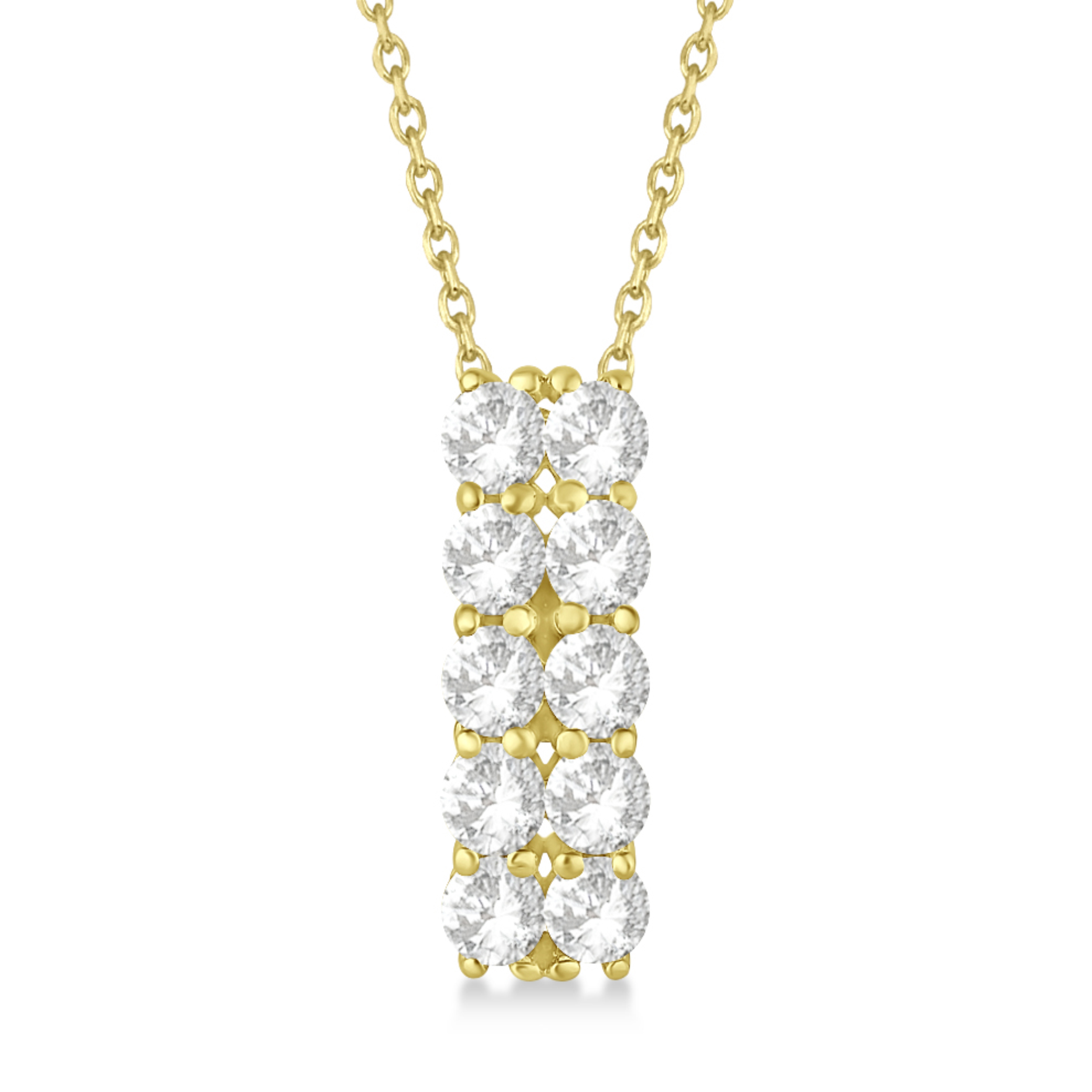 Double Row Diamond Drop Necklace 14k Yellow Gold (2.00ct)