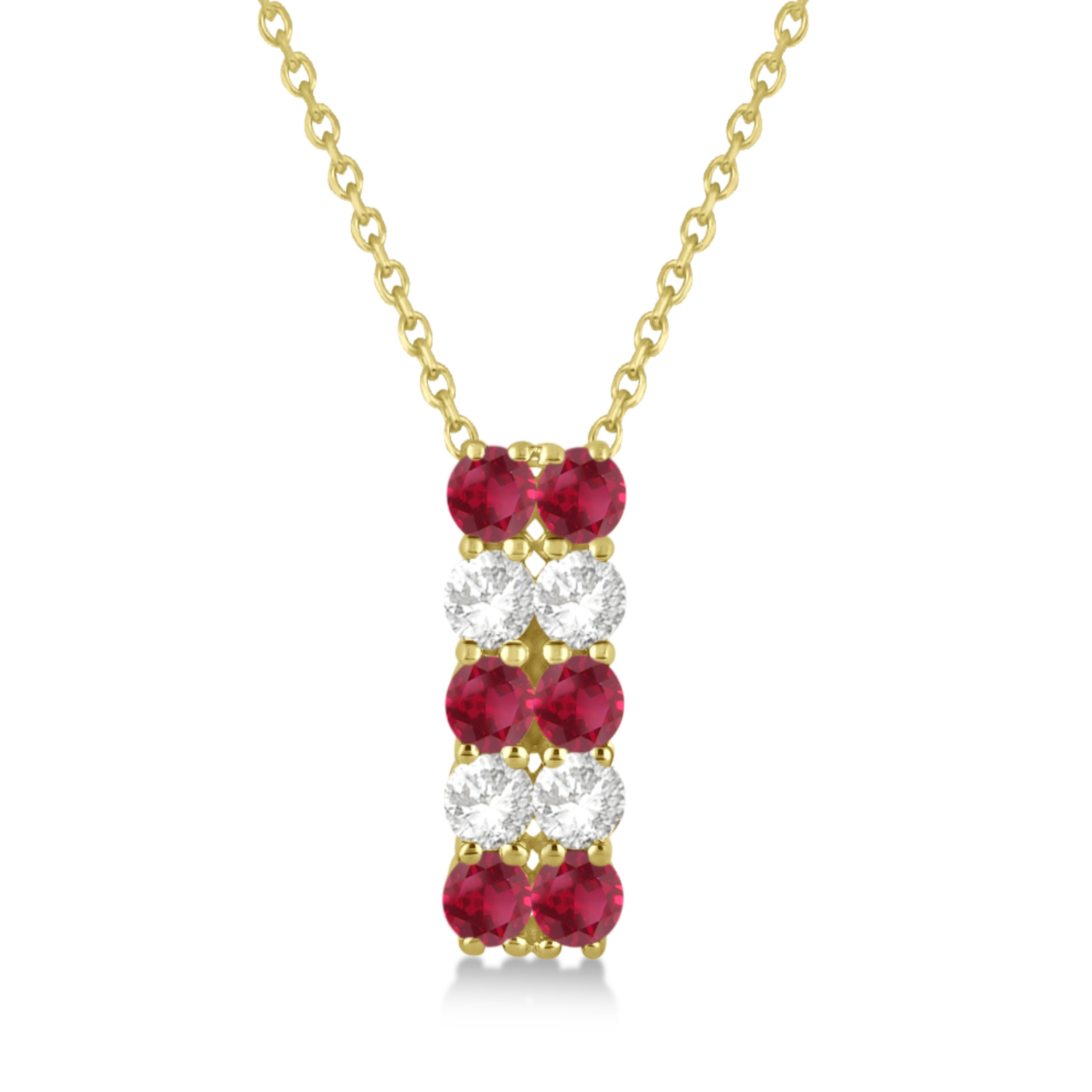 Double Row Ruby & Diamond Drop Necklace 14k Yellow Gold (2.18ct)
