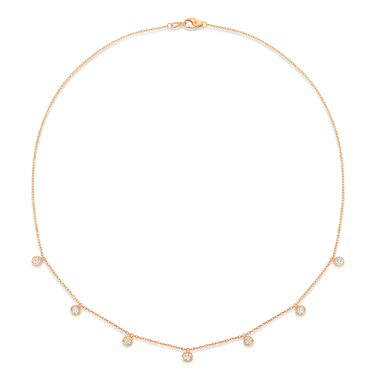 Bezel-Set Diamond Dangle Station Necklace in 14k Rose Gold (1.00 ctw)