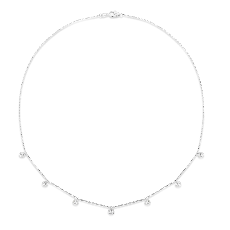 Bezel-Set Diamond Dangle Station Necklace in 14k White Gold (1.00 ctw)