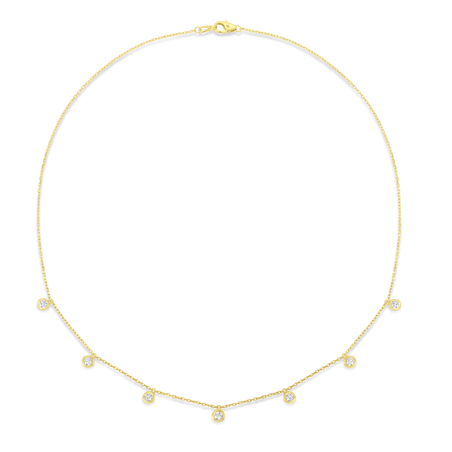 Bezel-Set Diamond Dangle Station Necklace in 14k Yellow Gold (1.00 ctw)
