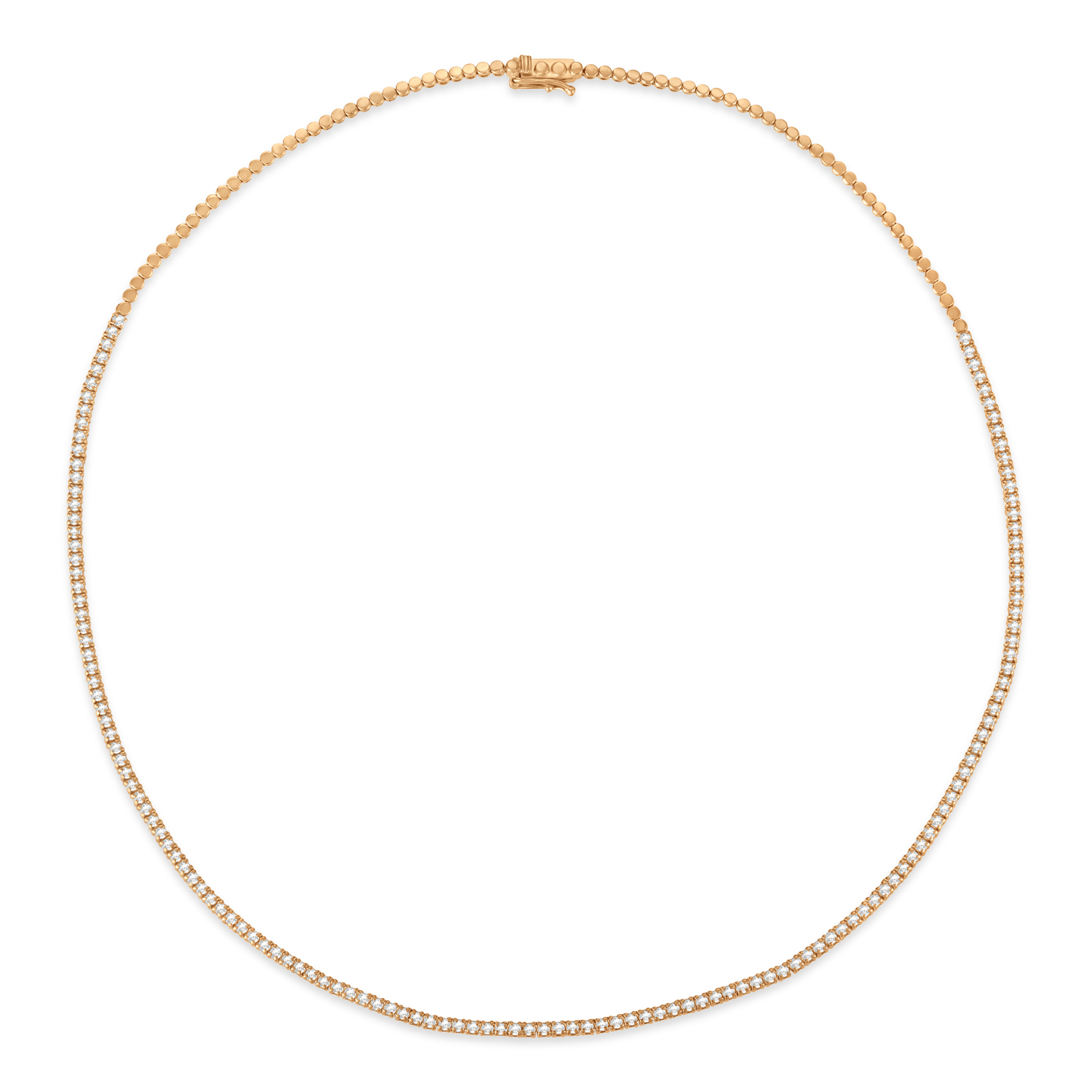Diamond Tennis Choker Necklace for Women in 14k Rose Gold (2.00 ctw)