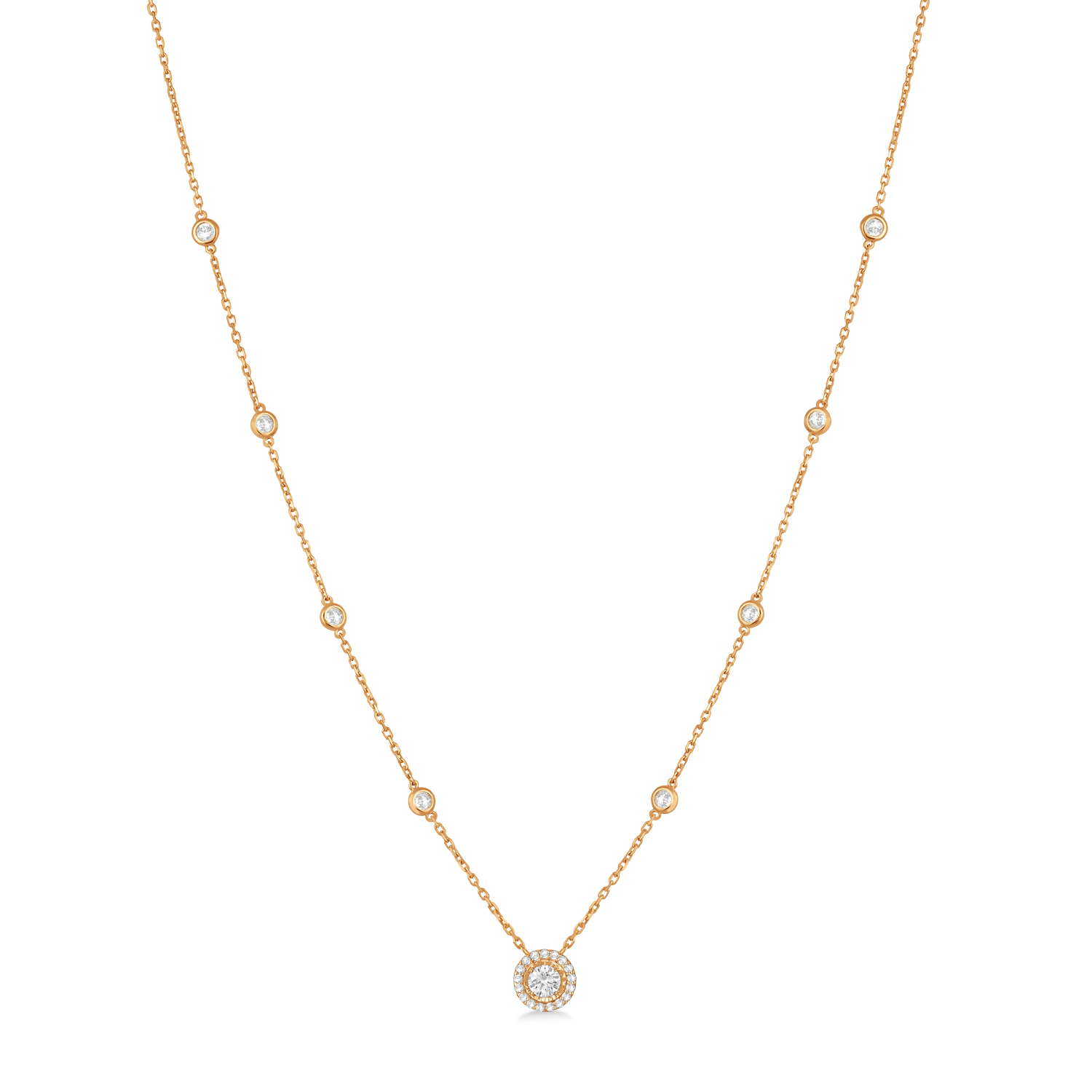 Diamond Halo Pendant Station Necklace in 14k Rose Gold (0.45 ctw)