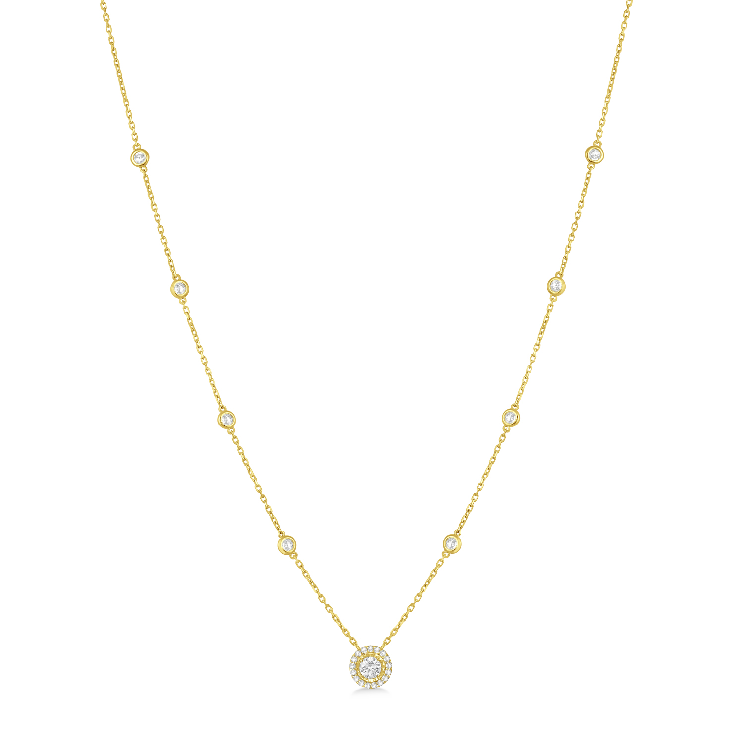 Diamond Halo Pendant Station Necklace in 14k Yellow Gold (1.25 ctw)
