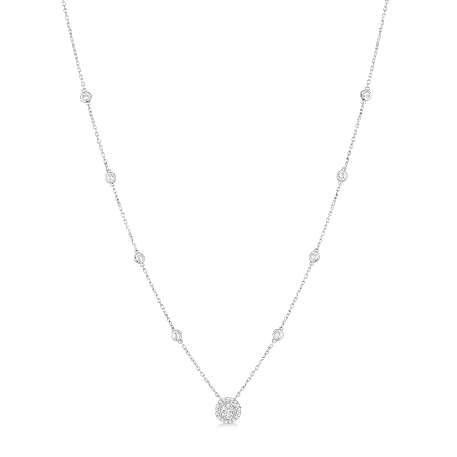 Diamond Halo Pendant Station Necklace in 14k White Gold (1.50 ctw)