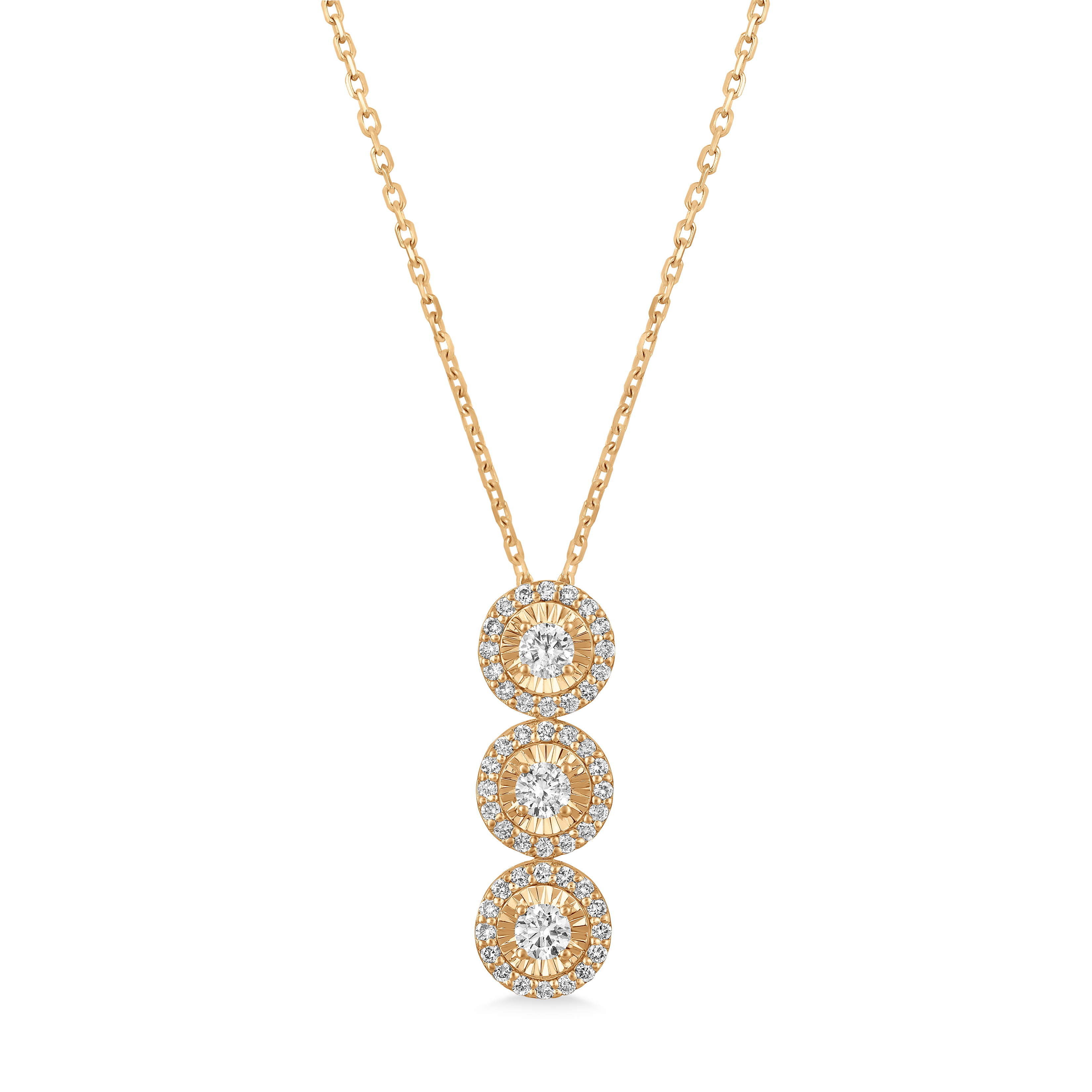 Three-Stone Diamond Halo Pendant Necklace in 14k Rose Gold (0.80 ctw)