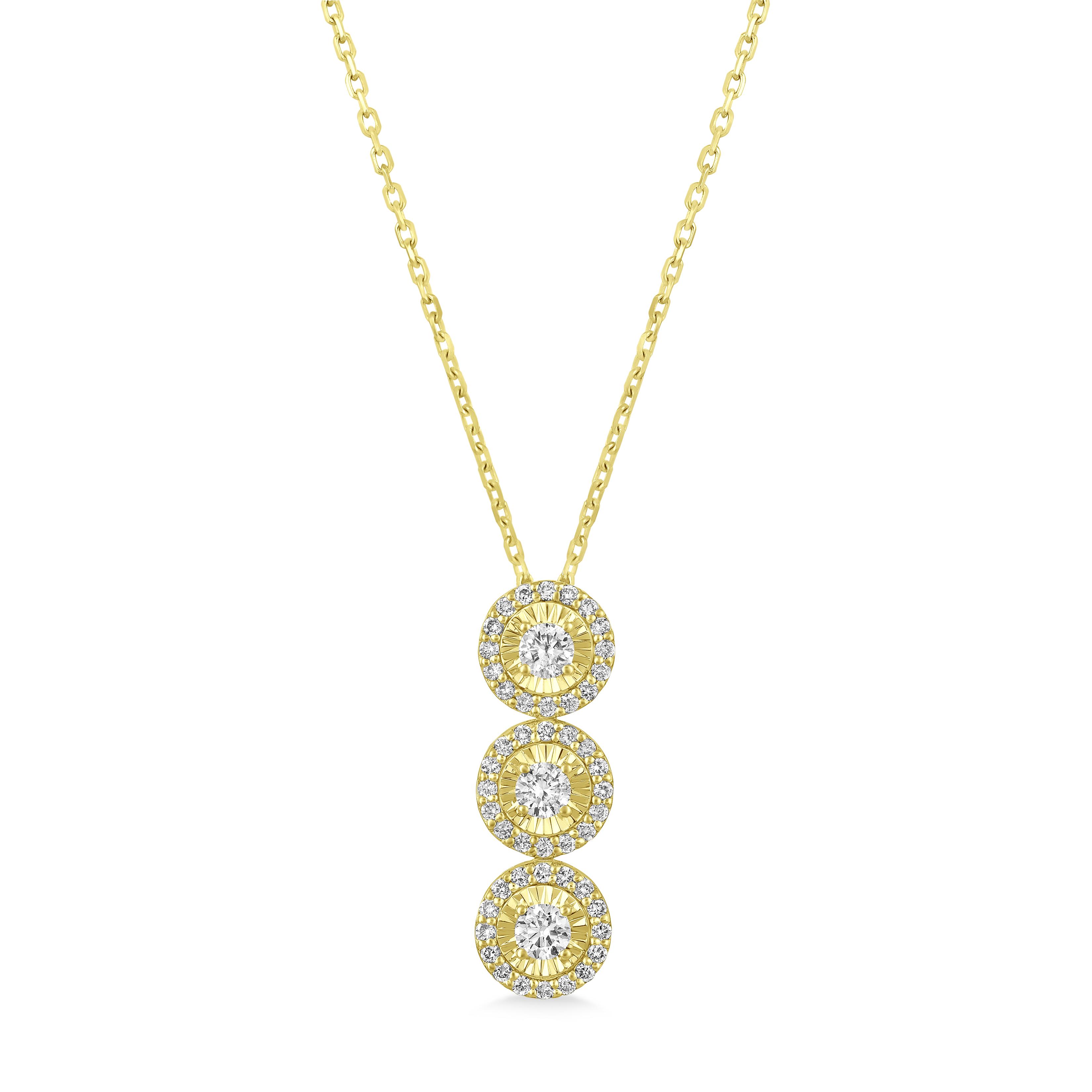 Three-Stone Diamond Halo Pendant Necklace in 14k Yellow Gold (0.80 ctw)