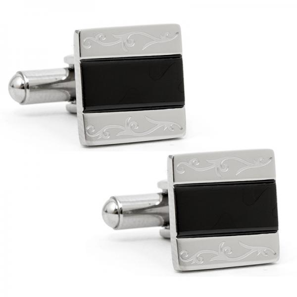 Classic Style Floral Etched Cufflinks Stainless Steel & Black Resin