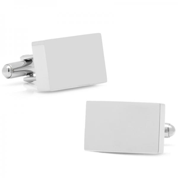 Thick Butcher Block Style Cufflinks Stainless Steel