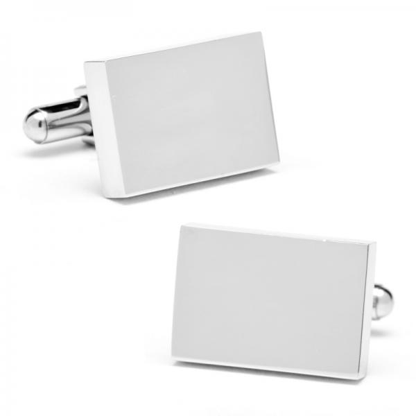 Block Style Rectangular Engravable Cufflinks in Stainless Steel