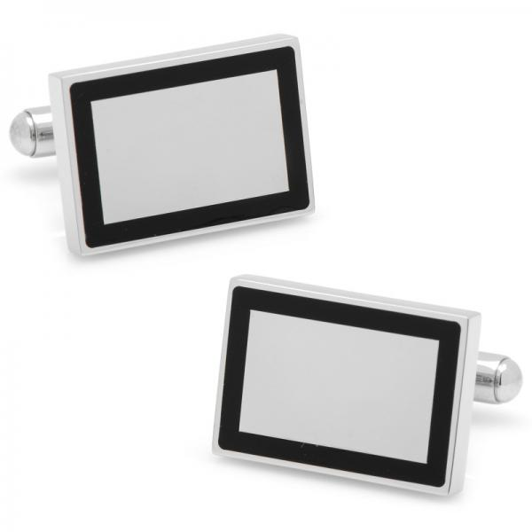Rectangular Framed Engravable Cufflinks Silver Plate Stainless Steel