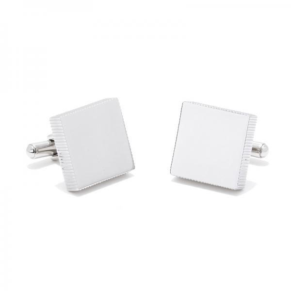 Square Shaped Engravable Cufflinks w/ Rugged Edge in Stainless Steel