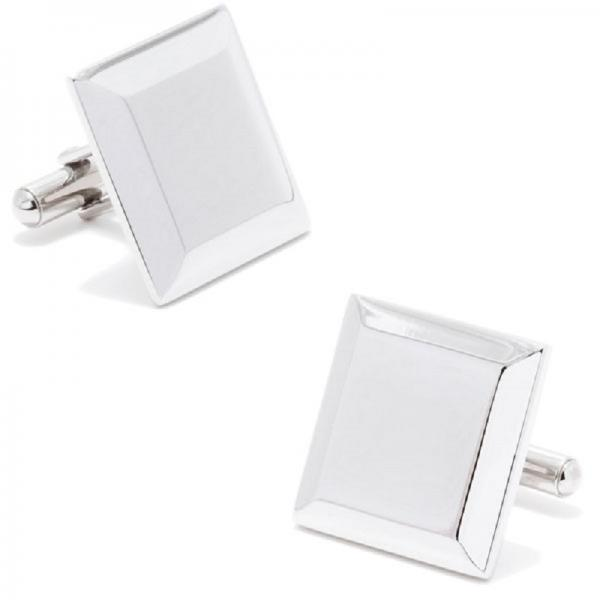 Beveled Edge Engravable Square Cufflinks in Stainless Steel