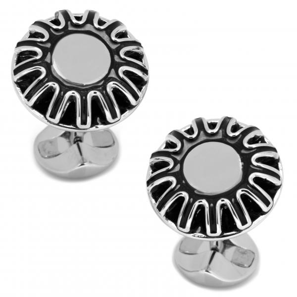 Men's Sterling Silver Plated Black Flower Cuff Links