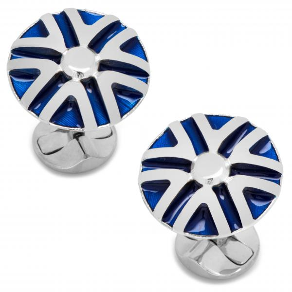 Men's Sterling Silver Plated Blue Striped Flower Cuff Links