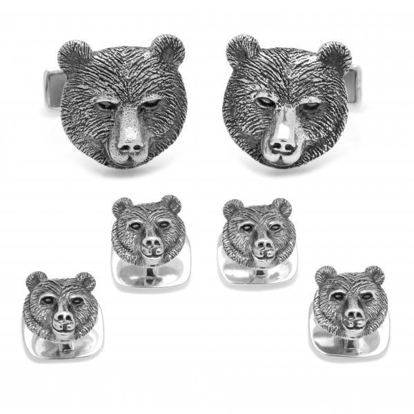 Men's Sterling Silver Engravable Bear Head Stud Set