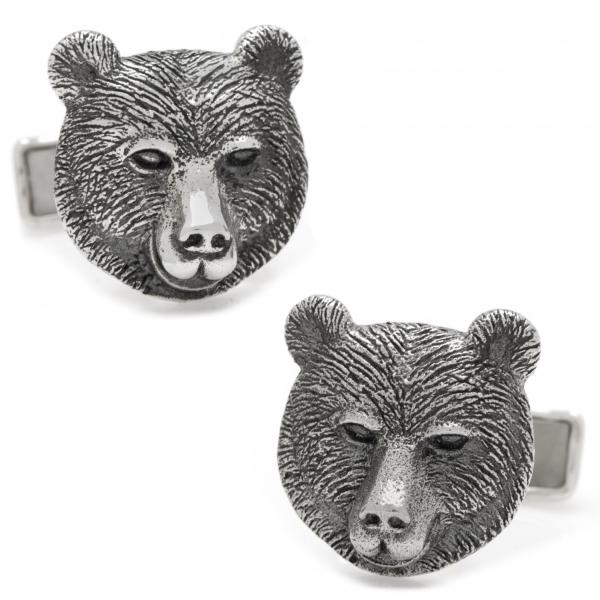 Men's Sterling Silver Engravable Bear Head Cuff Links
